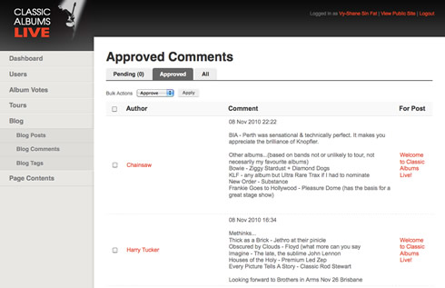 Blog admin - comment management