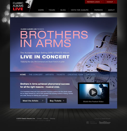 Tour sub site homepage