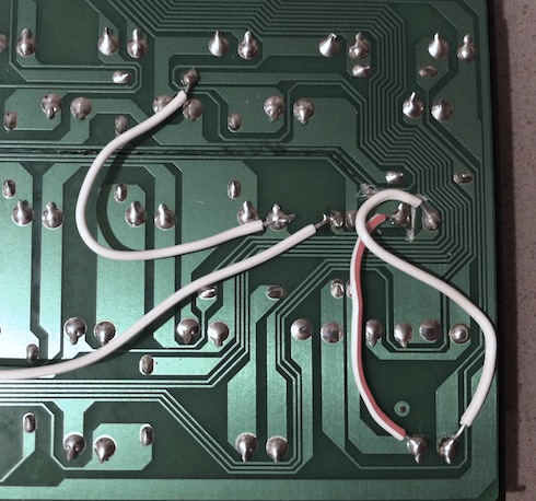 Wires soldered to PCB